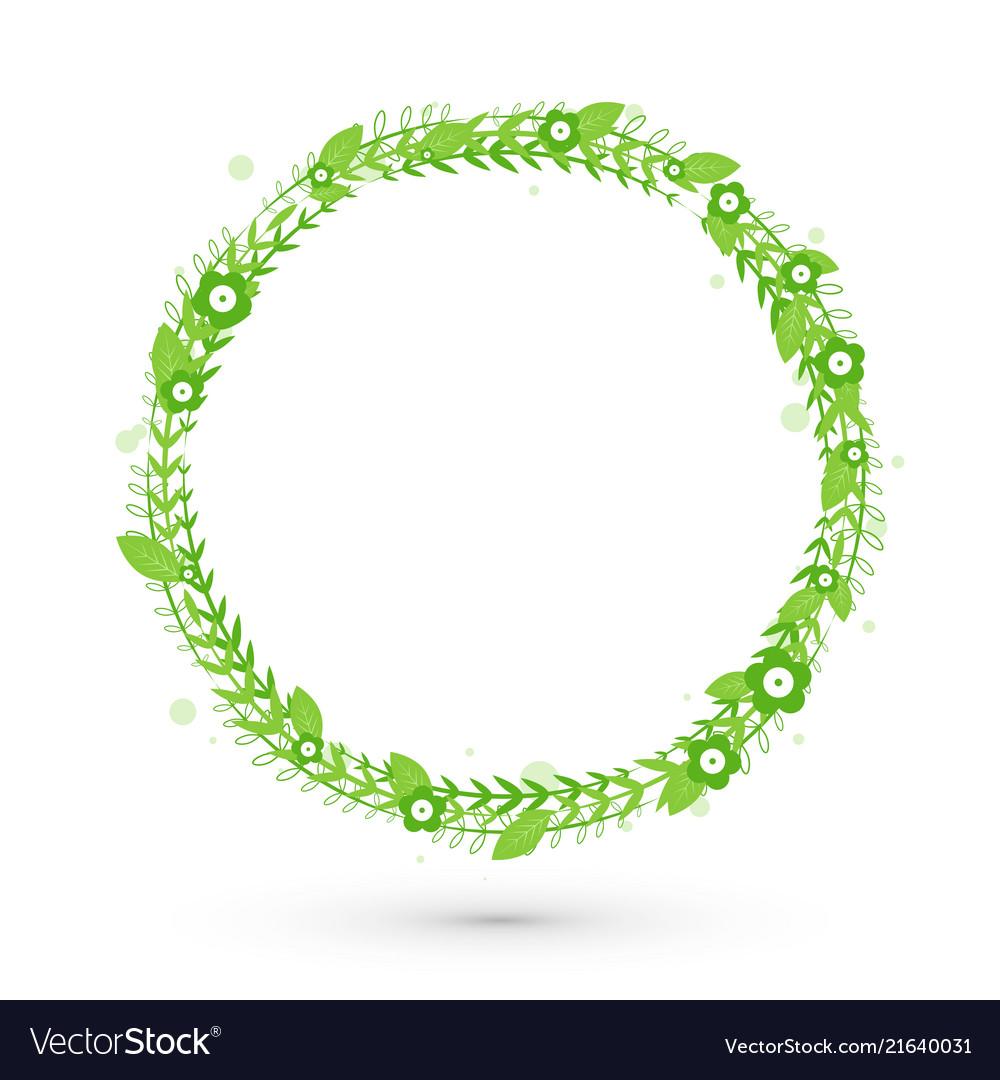 Green floral frame circle