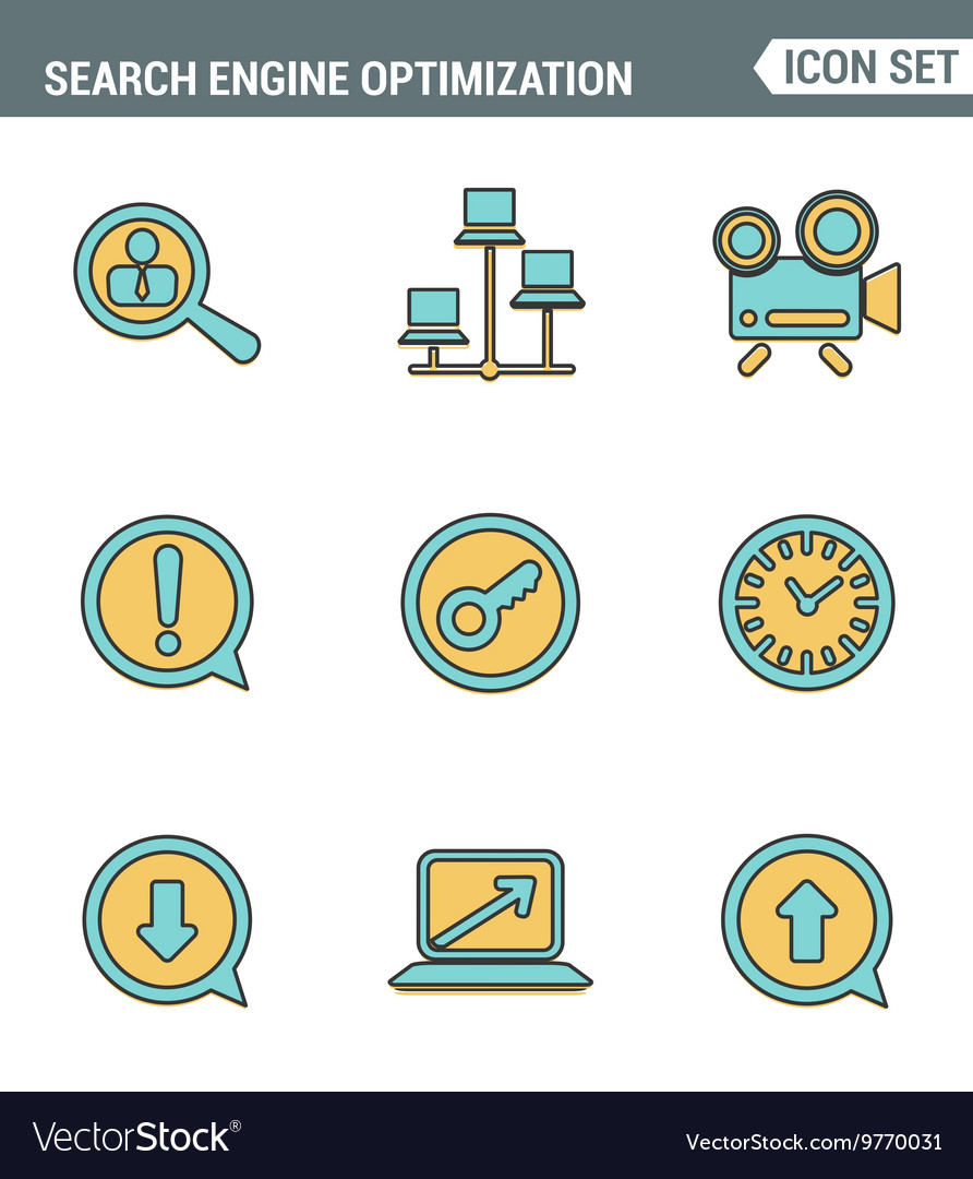 Icons line set premium quality search engine