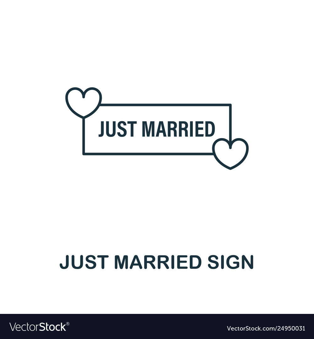 Just married sign outline icon premium style