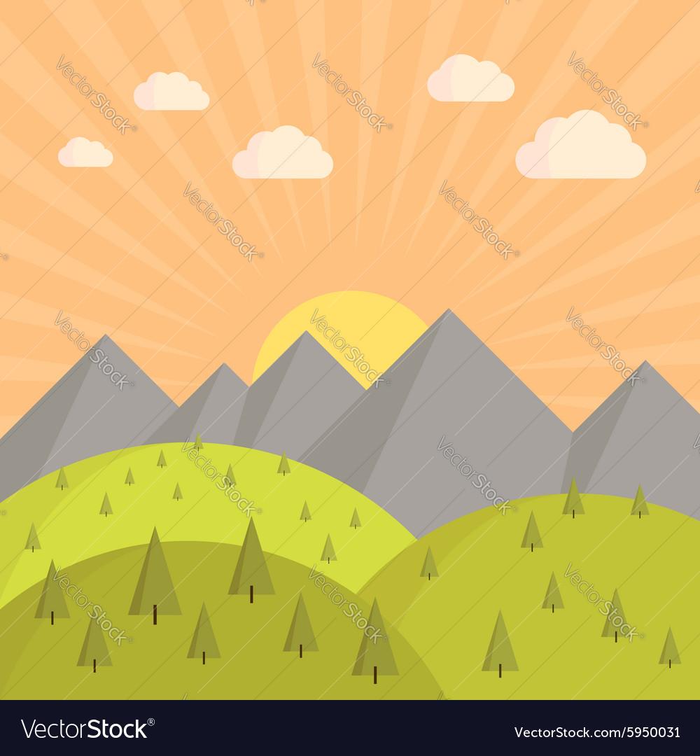 Landscape sunset vector image
