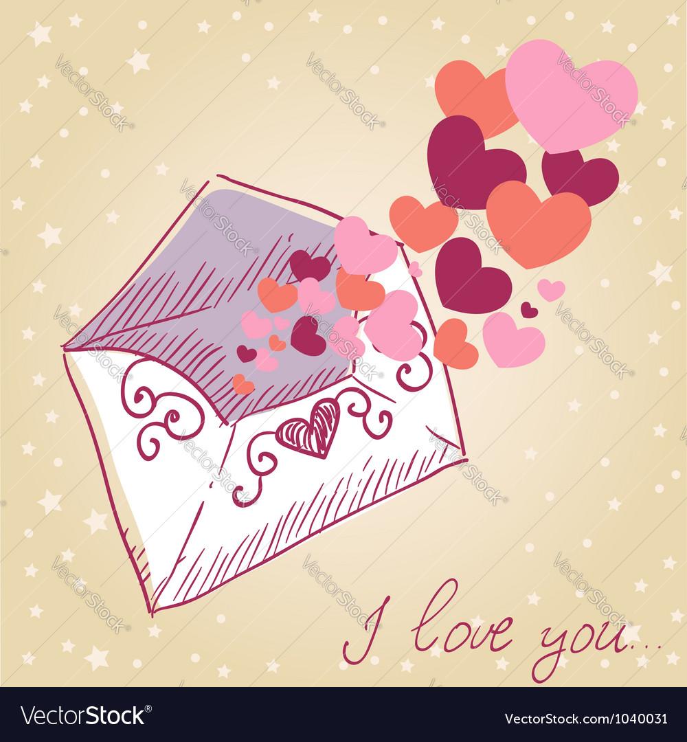 Love letter Valentine retro card