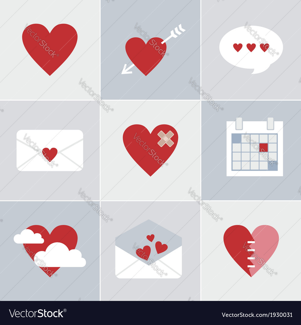 Mail love icons vector image