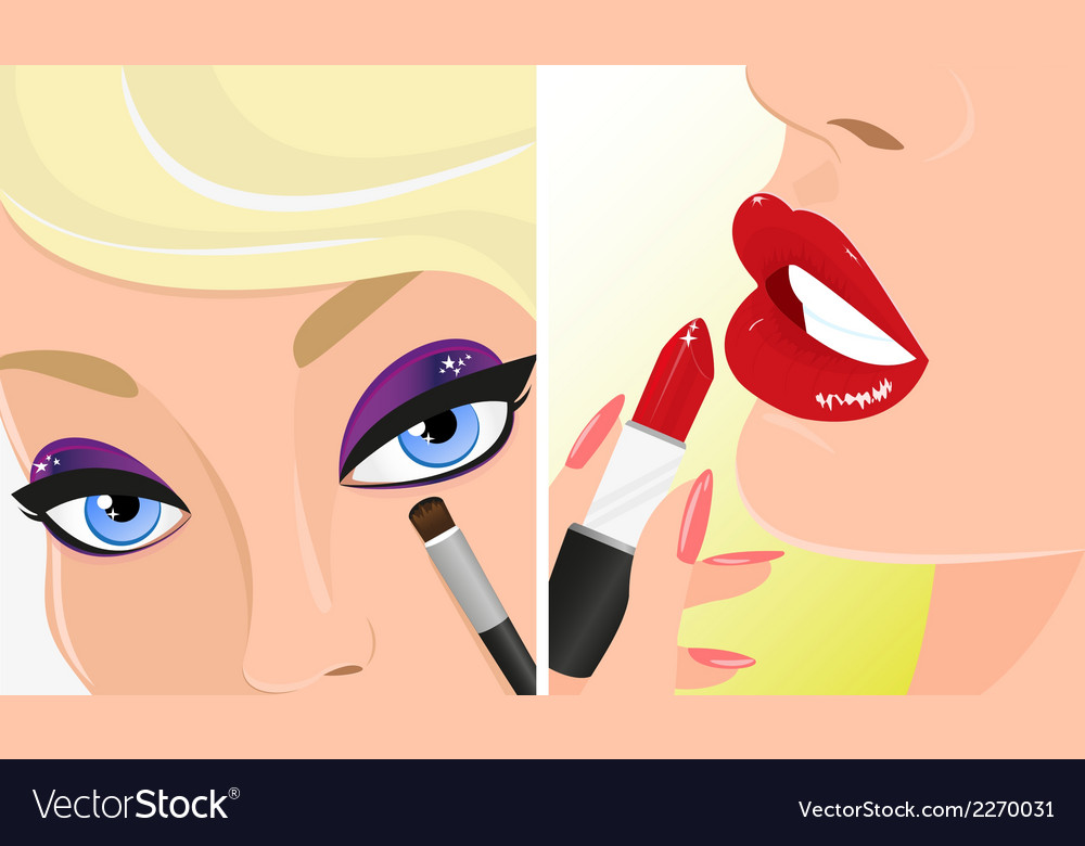 Make-up twice red lipstick and violet eye shadow