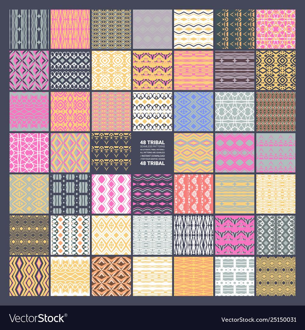 Set 48 ethnic seamless patterns