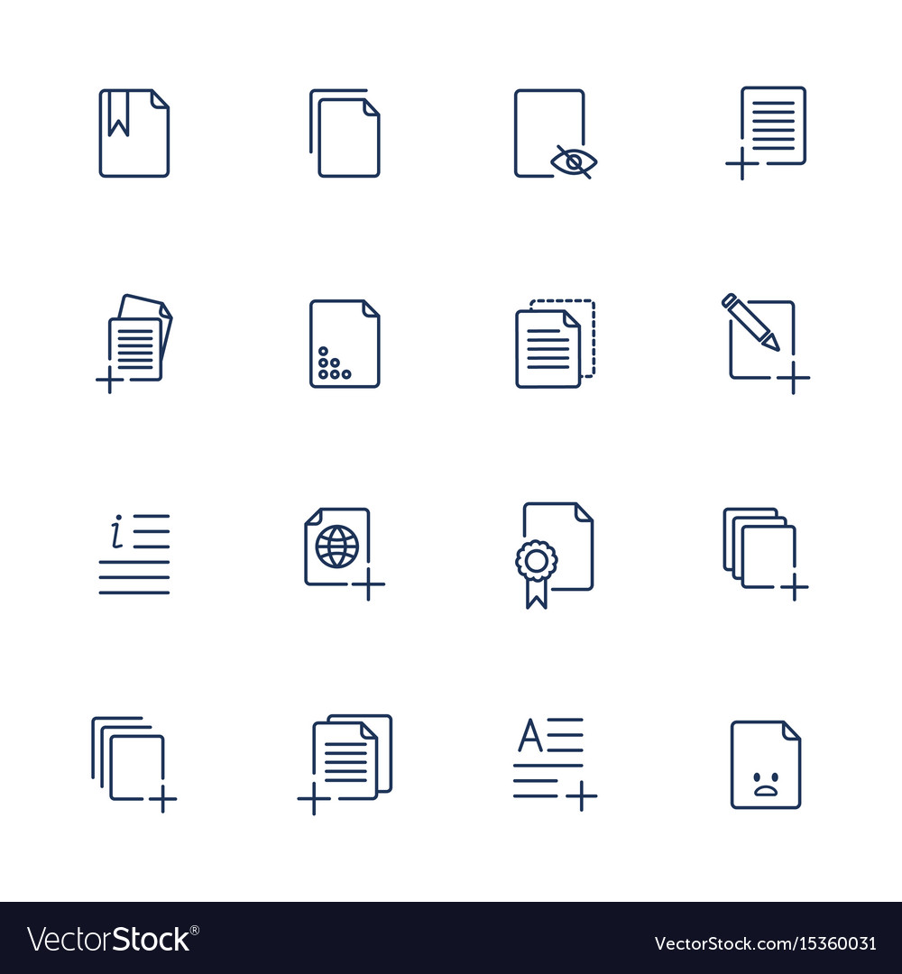 Set document icons paper icons