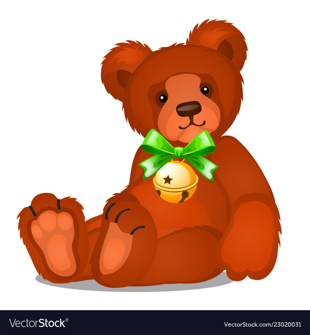 Soft toy teddy bear with jingle bells with green