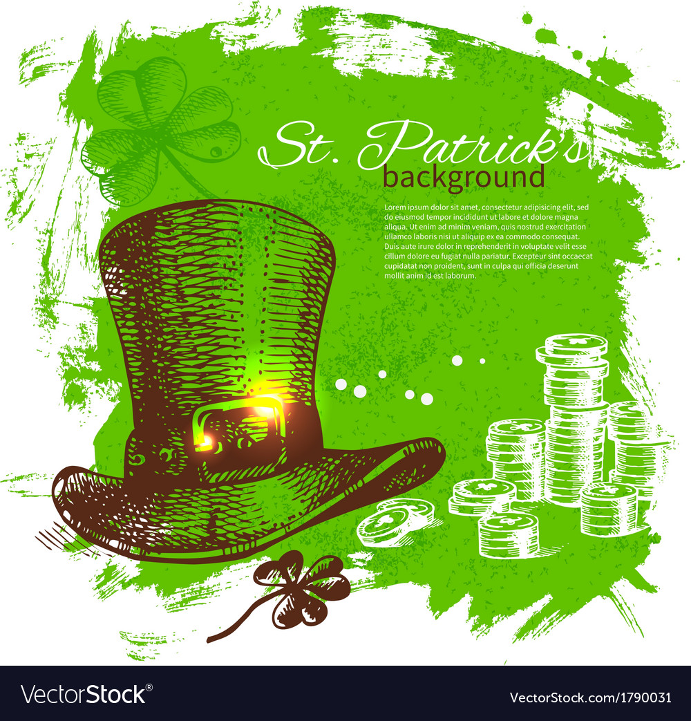 St Patricks Day background with hand drawn sketch