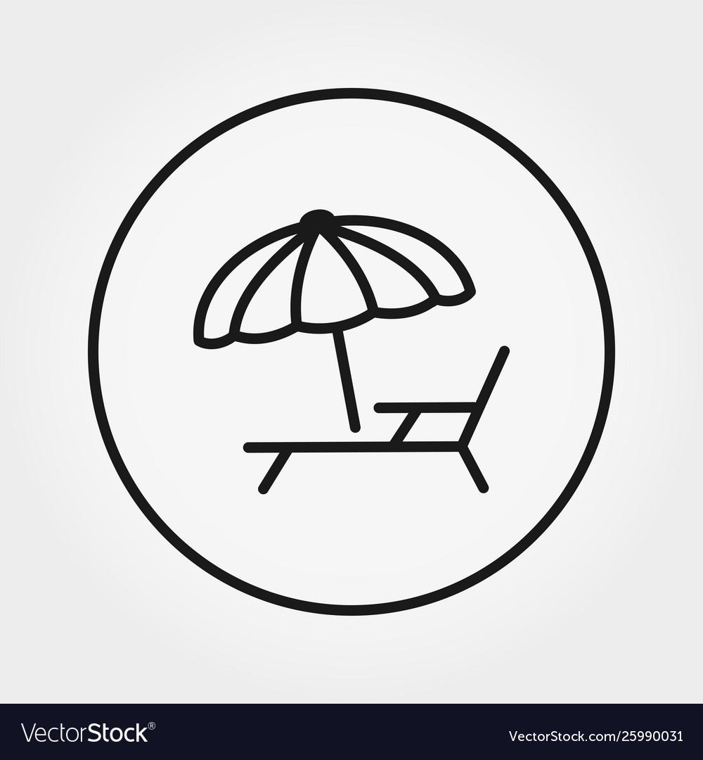 Sunbed under umbrella icon editable