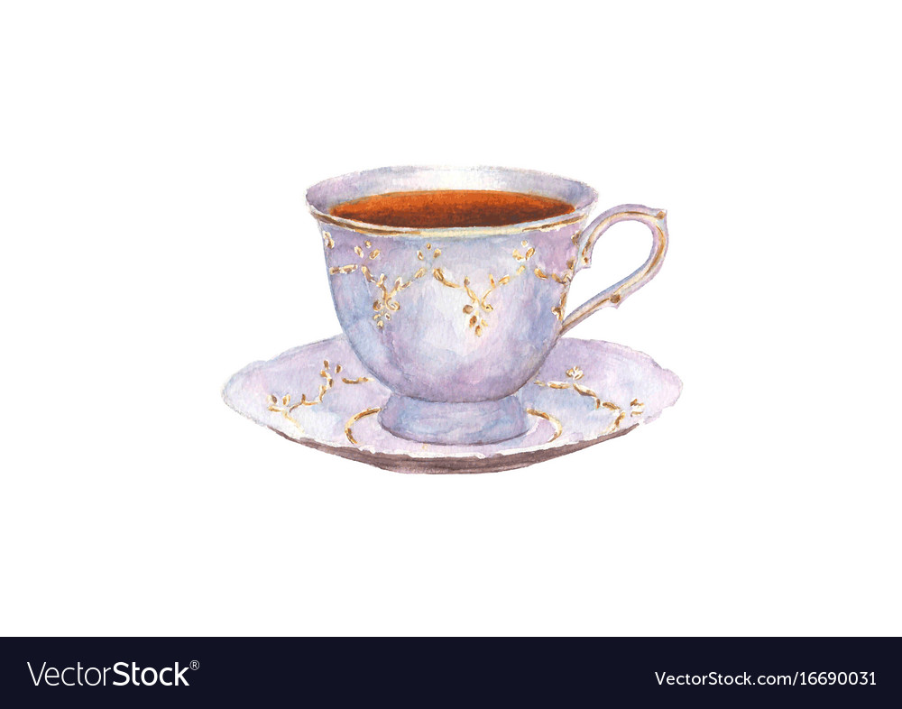 Watercolor porcelain cup of tea and saucer