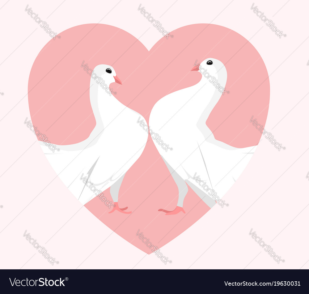White doves in the heart Royalty Free Vector Image