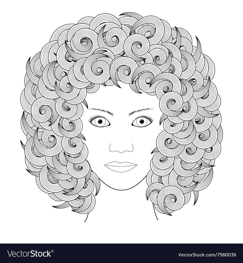 Adult Coloring Book Portrait Woman With Curly Hair Rh Vectorstock Com Harmony Harry Potter