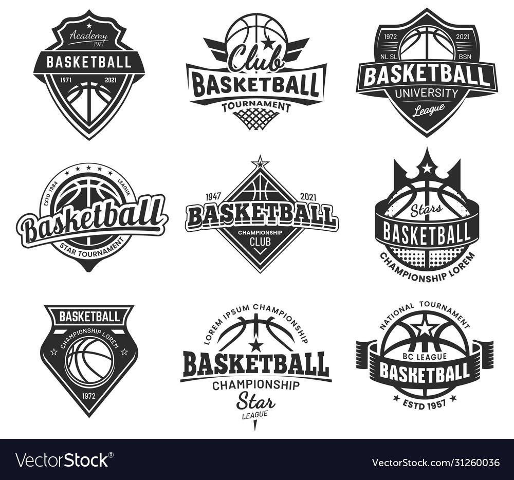 Basketball team labels set sport league badges