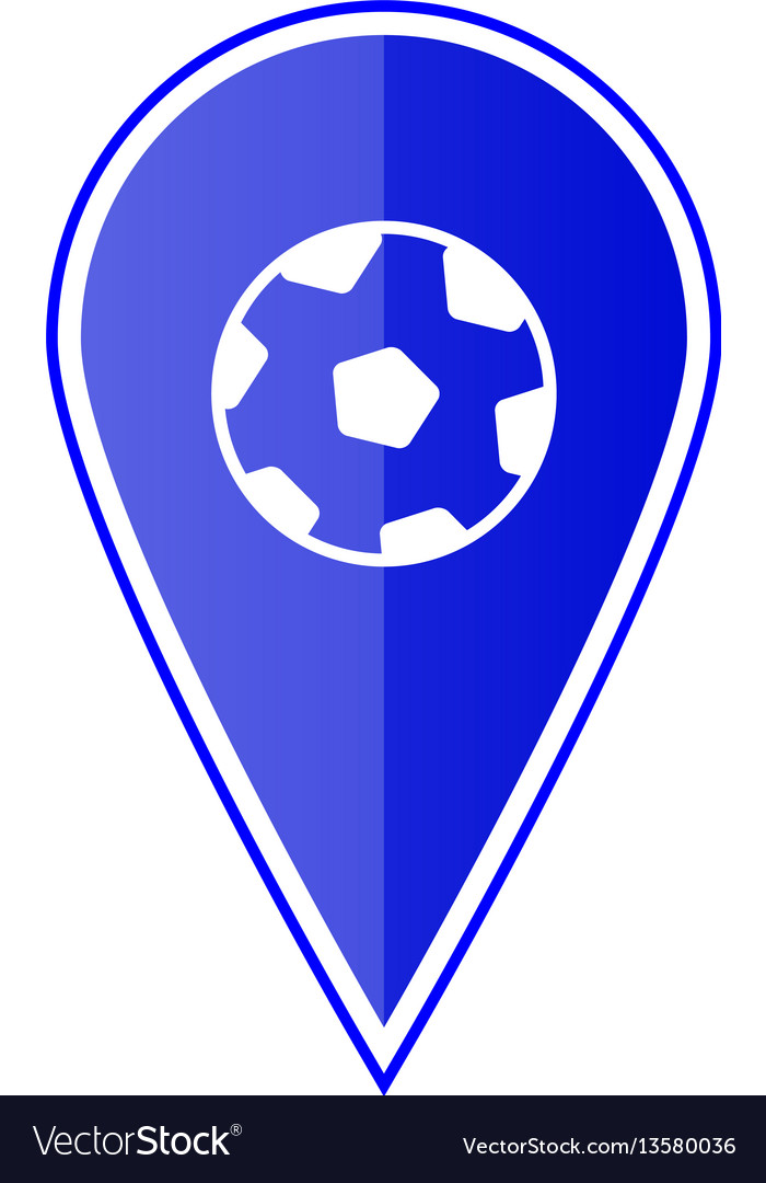 Blue map pointer with soccer ball