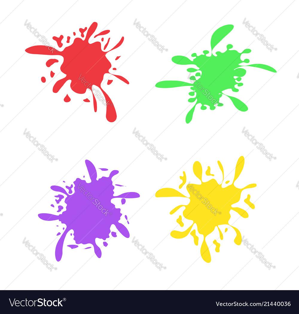 Colorful ink spots set splash splatter abstract