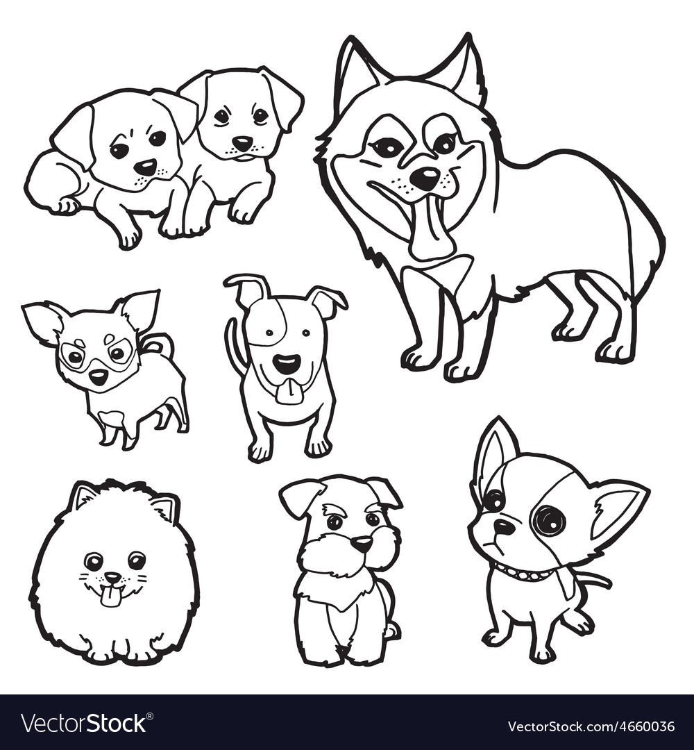Coloring Book Dog set vector image