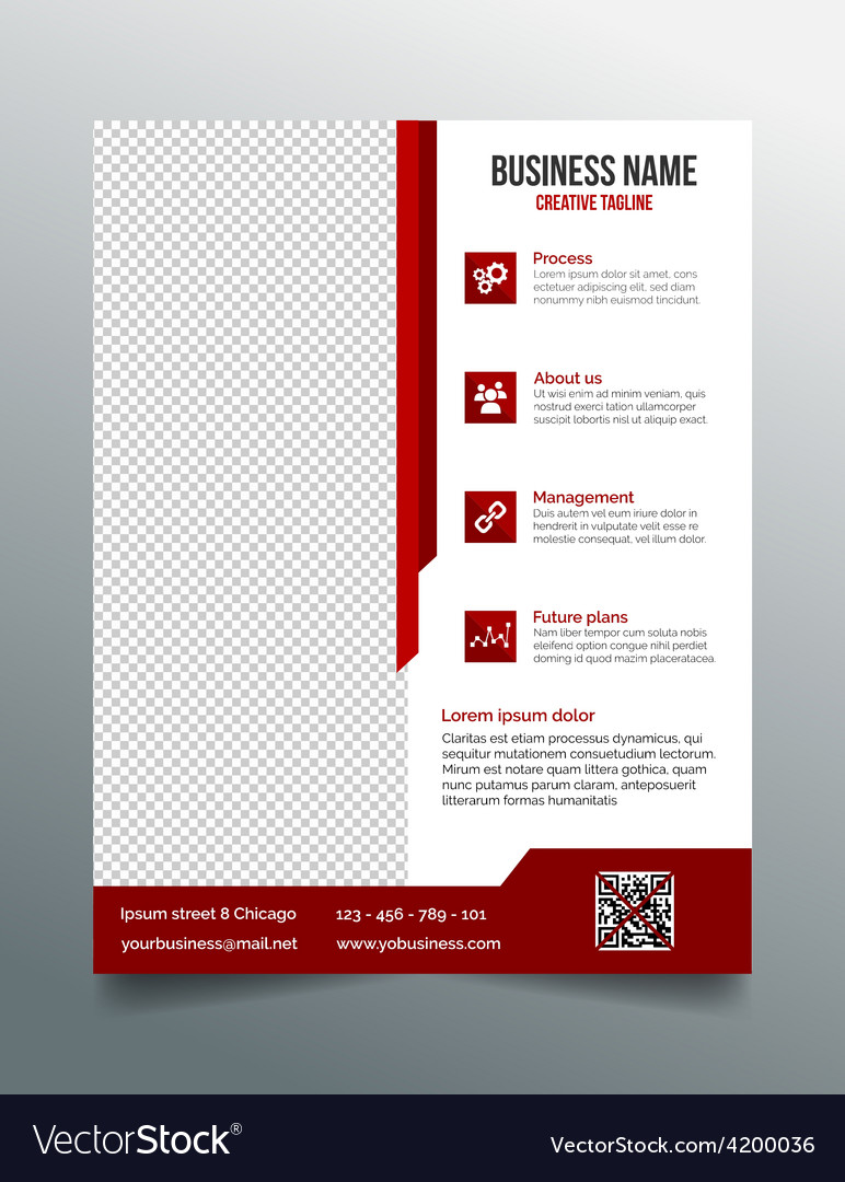 Corporate business flyer template red design vector image flashek Image collections