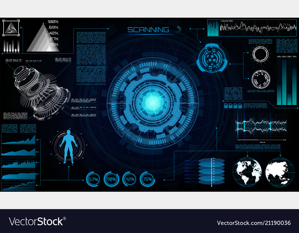 Futuristic sci fi modern user interface set
