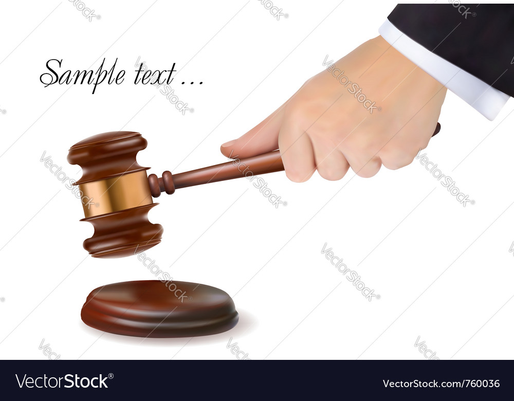 Hand holding judge gavel