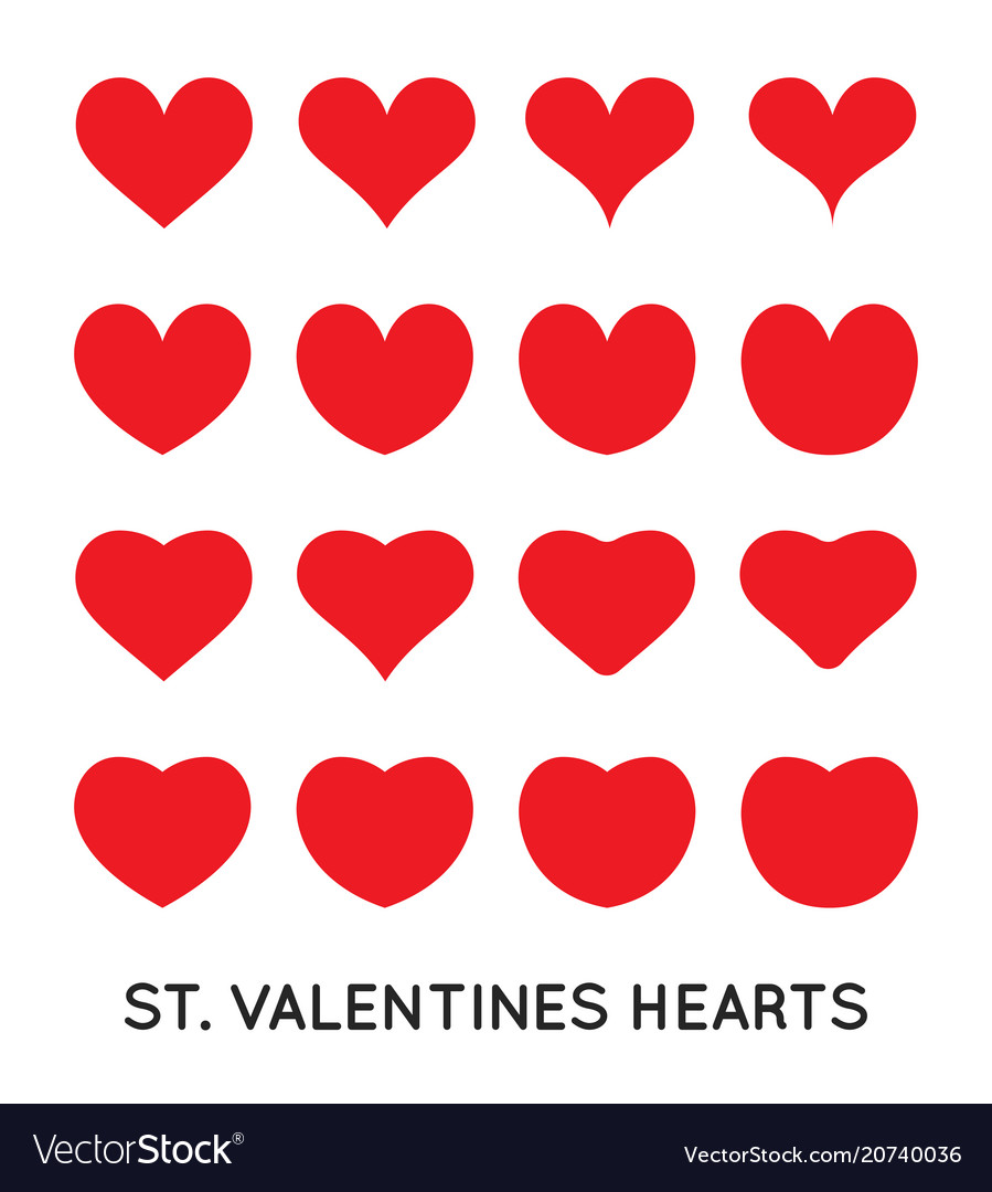 Hearts icons set st valentines day february can