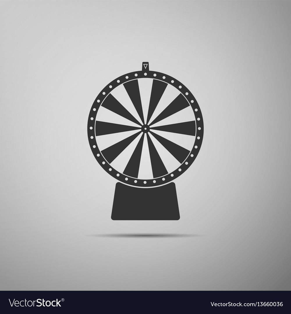 Lucky wheel flat icon on grey background