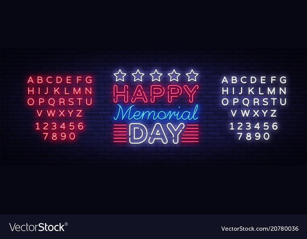 Memorial day memorial day neon sign