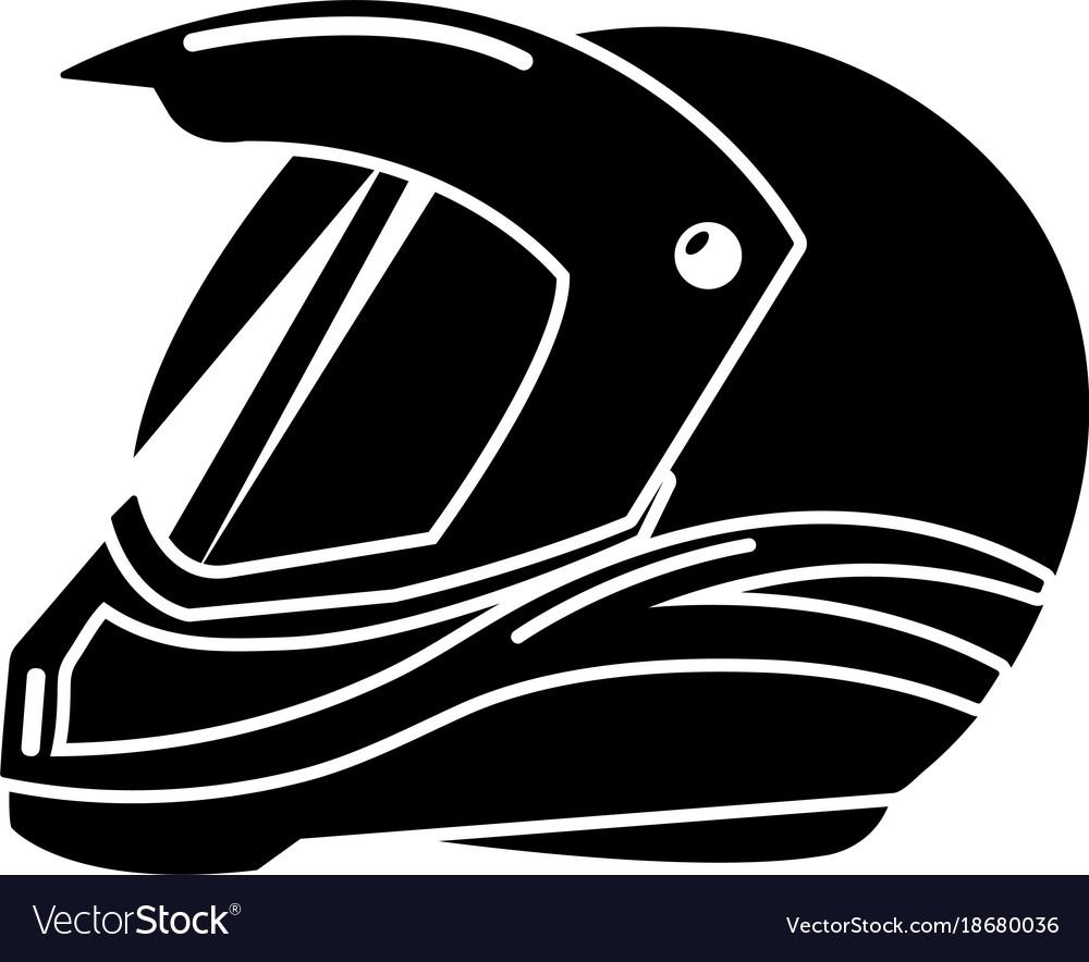 Motorcycle Helmet Racing Icon Simple Black Style Vector Image