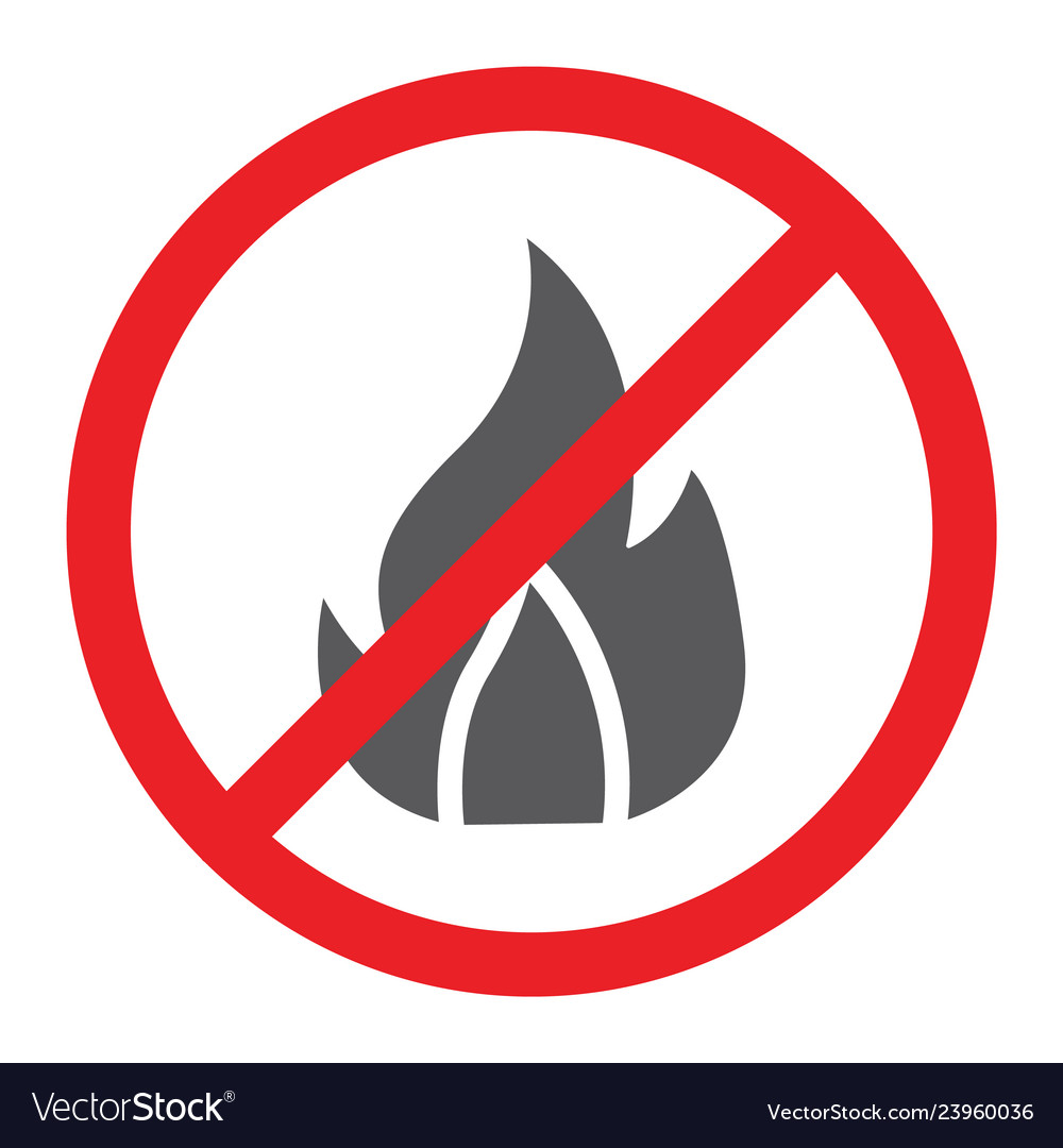 No fire glyph icon prohibited and warning no