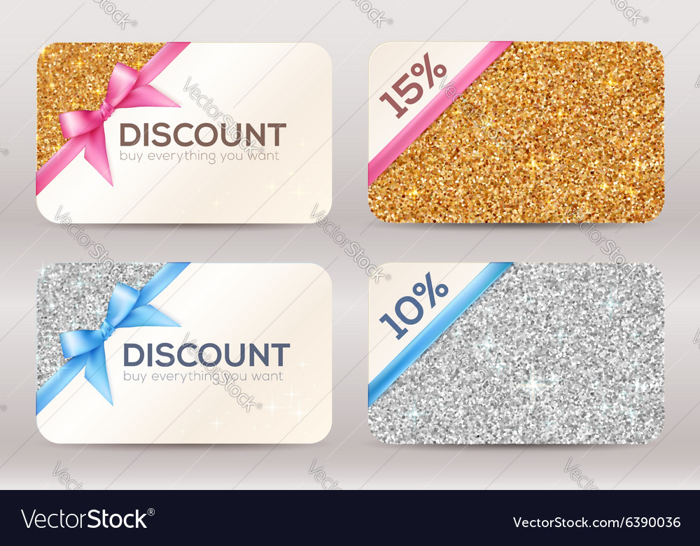 Set of golden and silver glitter discount cards
