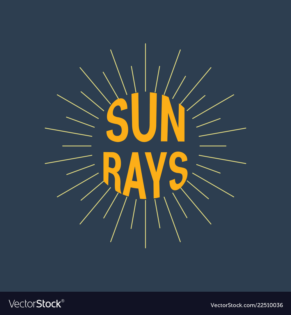 Sun rays logotype linear drawing vintage and