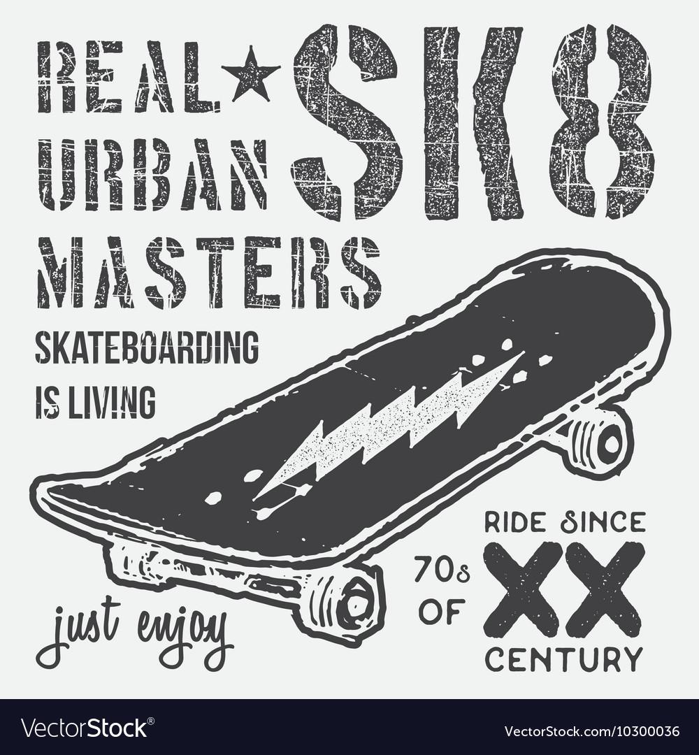 T-shirt typography design skateboard printing