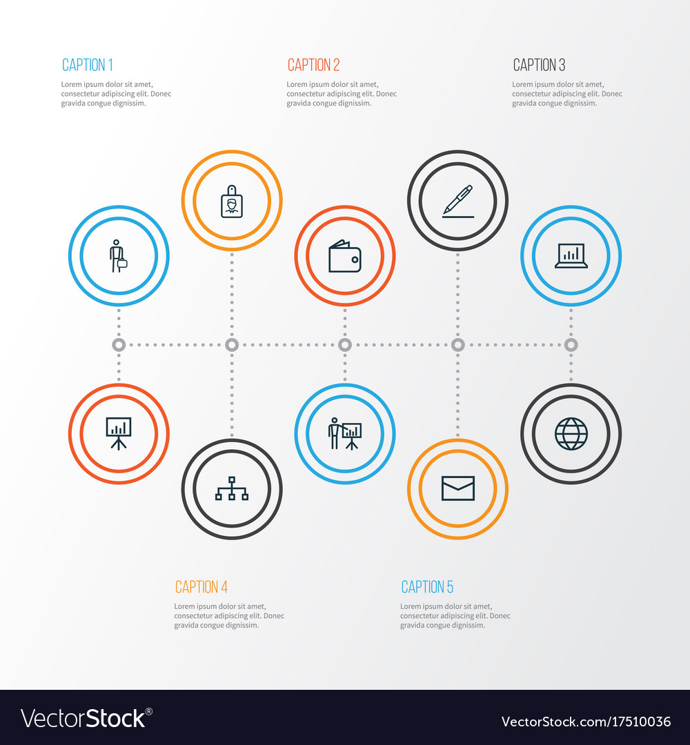 Trade outline icons set collection of businessman