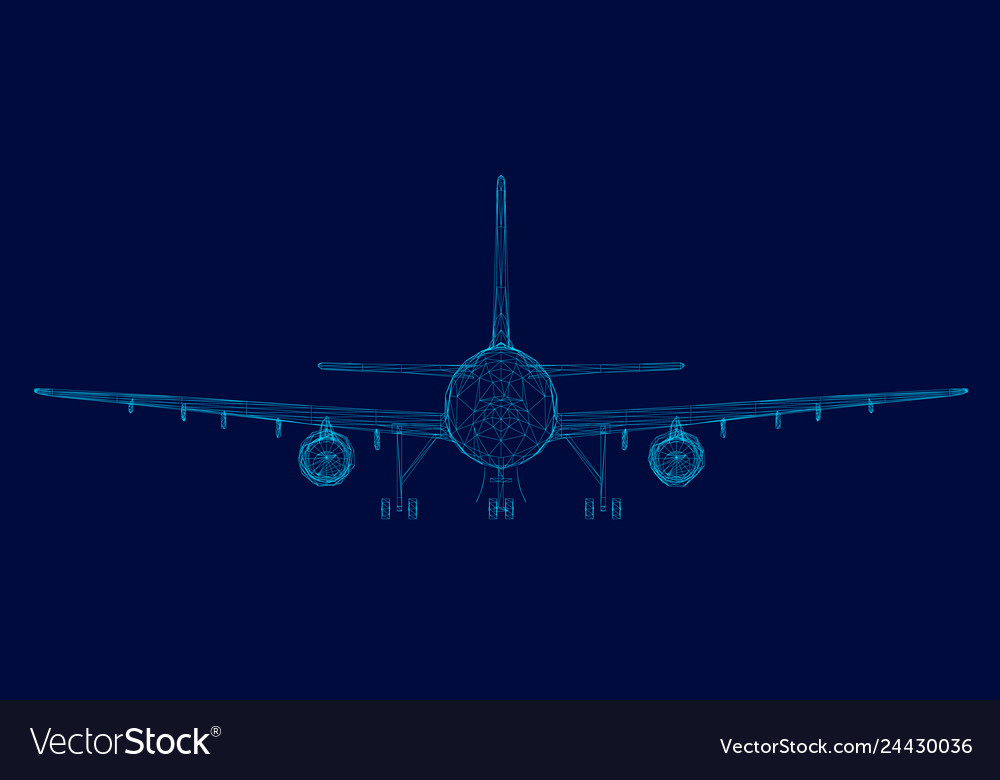 Wireframe of the passenger aircraft of the blue