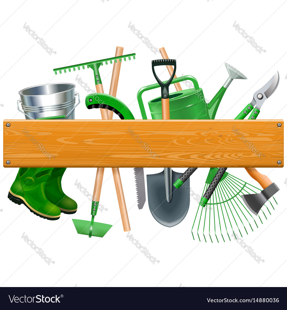 Wooden board with garden tools vector image