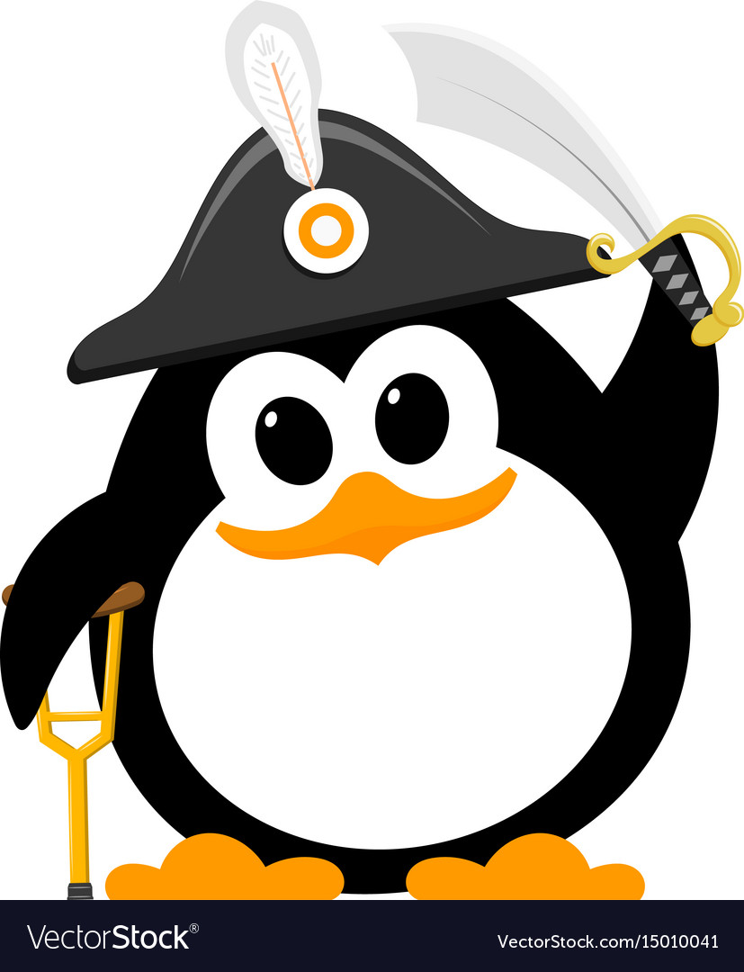 Abstract cute penguin in a pirate costume on a