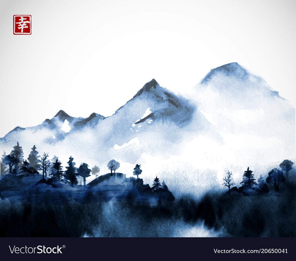 Blue wild forest trees and mountains in fog hand