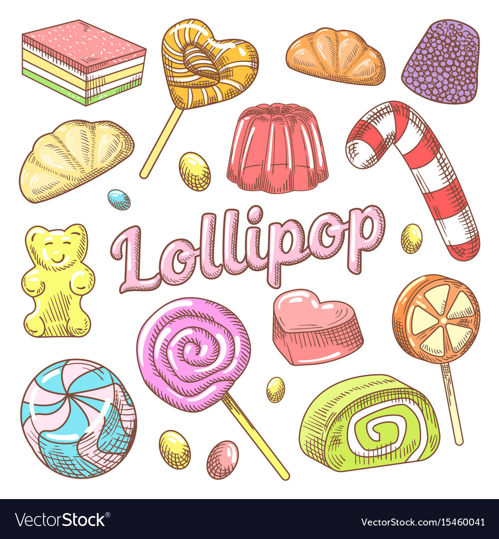 Candy and lollipops hand drawn doodle