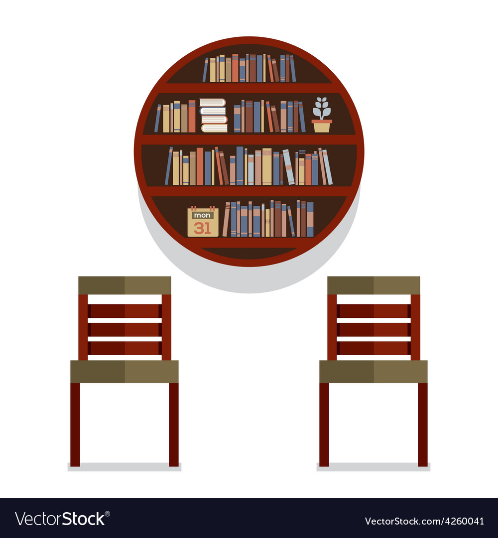 Chairs With Round Bookshelf On Wall
