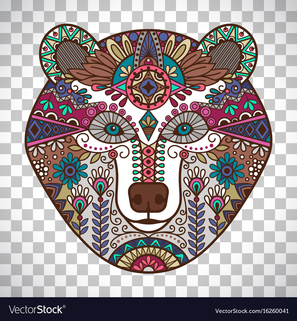 Colorful bear head on transparent background vector image