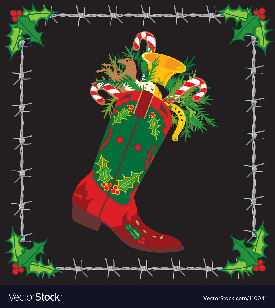 Cowboy boot stocking vector image