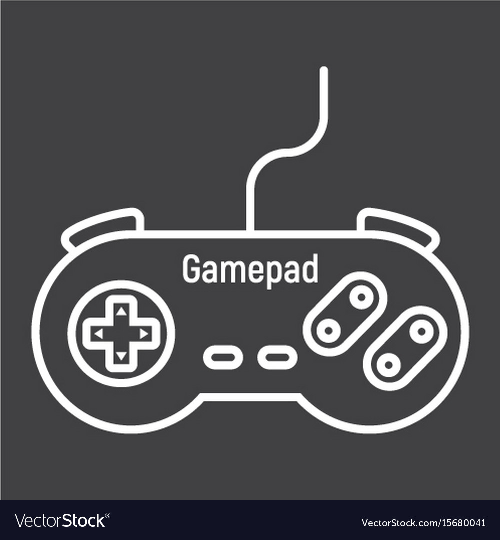Gamepad line icon console and joystick vector image