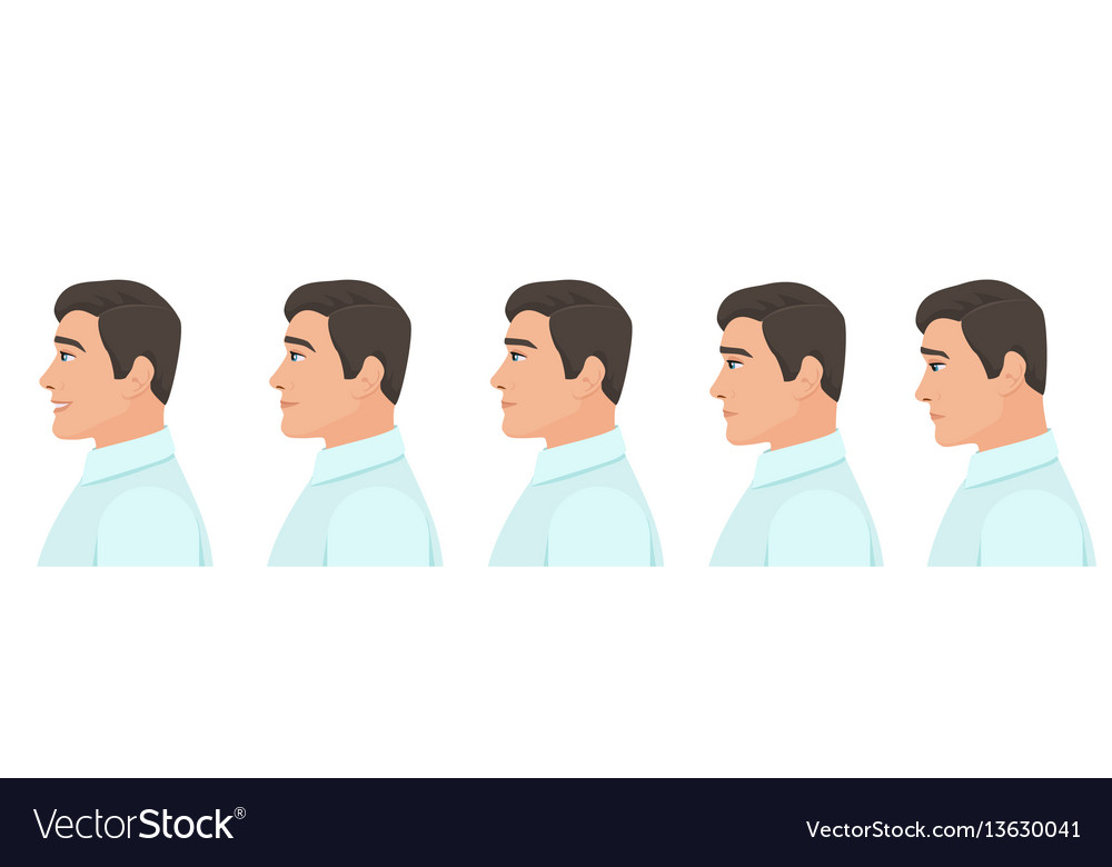 Male profile avatar expressions set man facial vector image