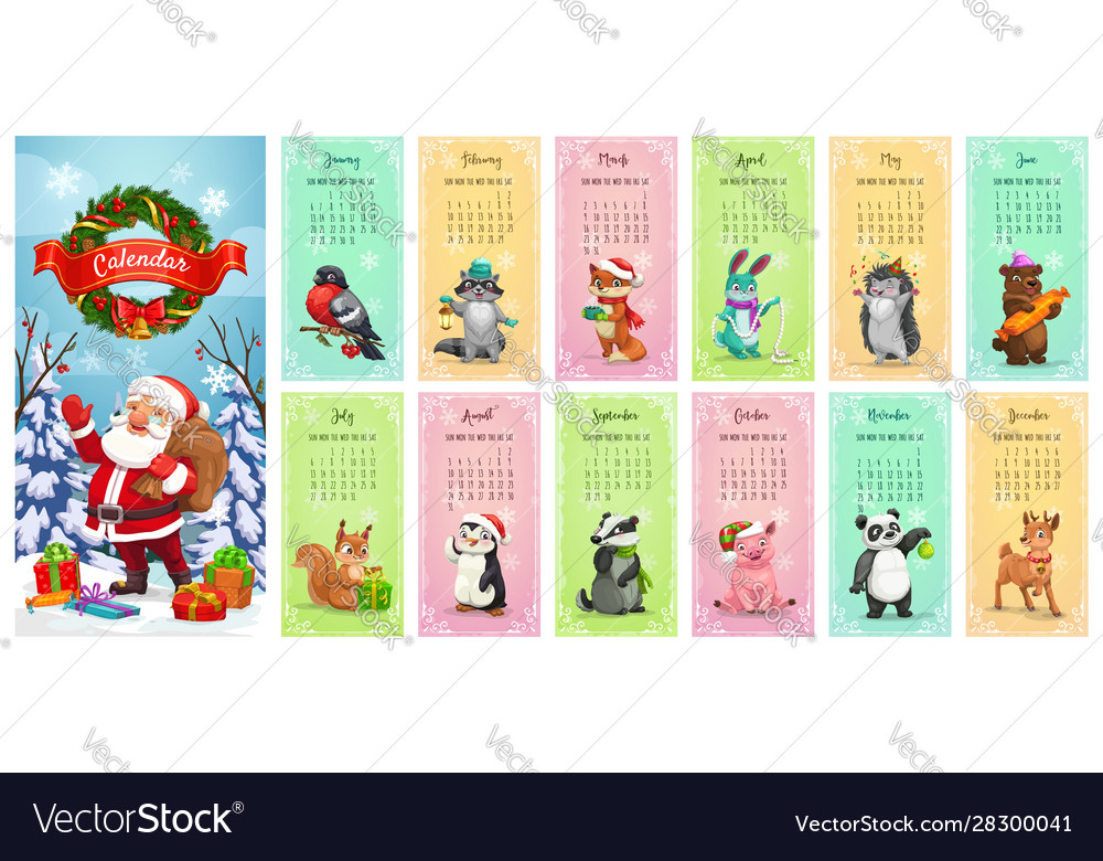 Monthly calendar santa christmas gifts animals
