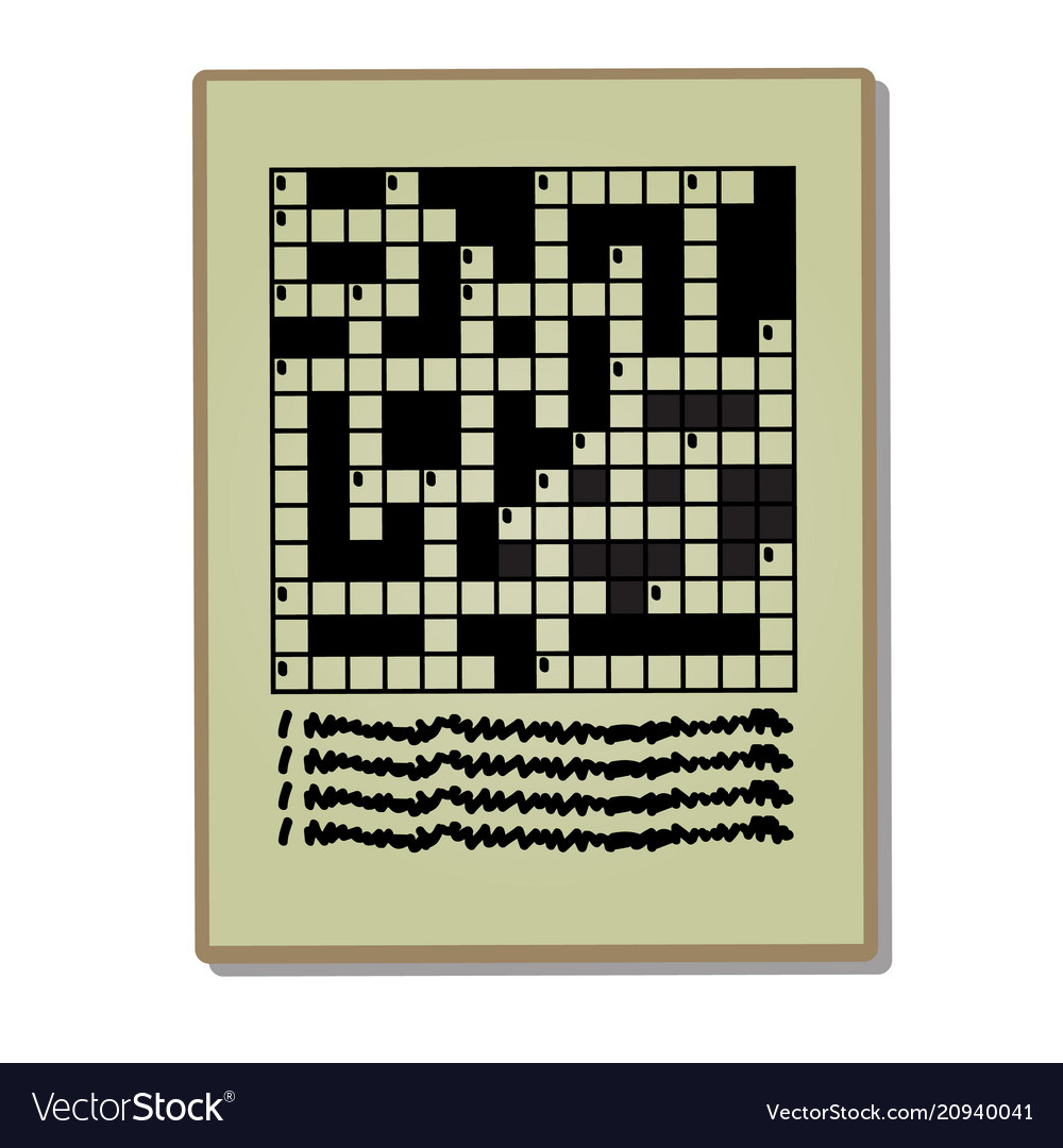Newspaper Page With A Crossword Puzzle Isolated On