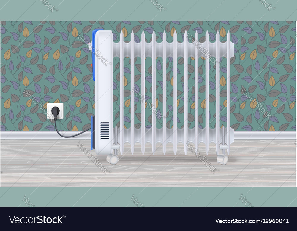 Oil radiator in room with wallpaper white