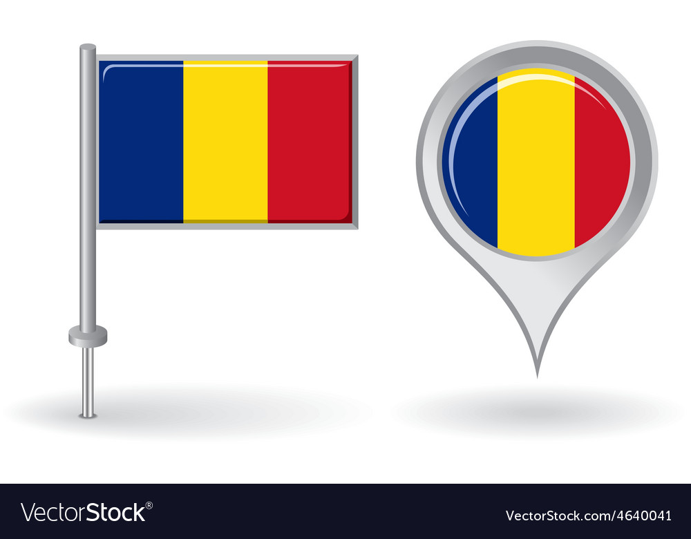 Romanian pin icon and map pointer flag