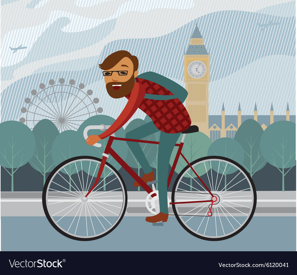 Young man hipster riding bike in London