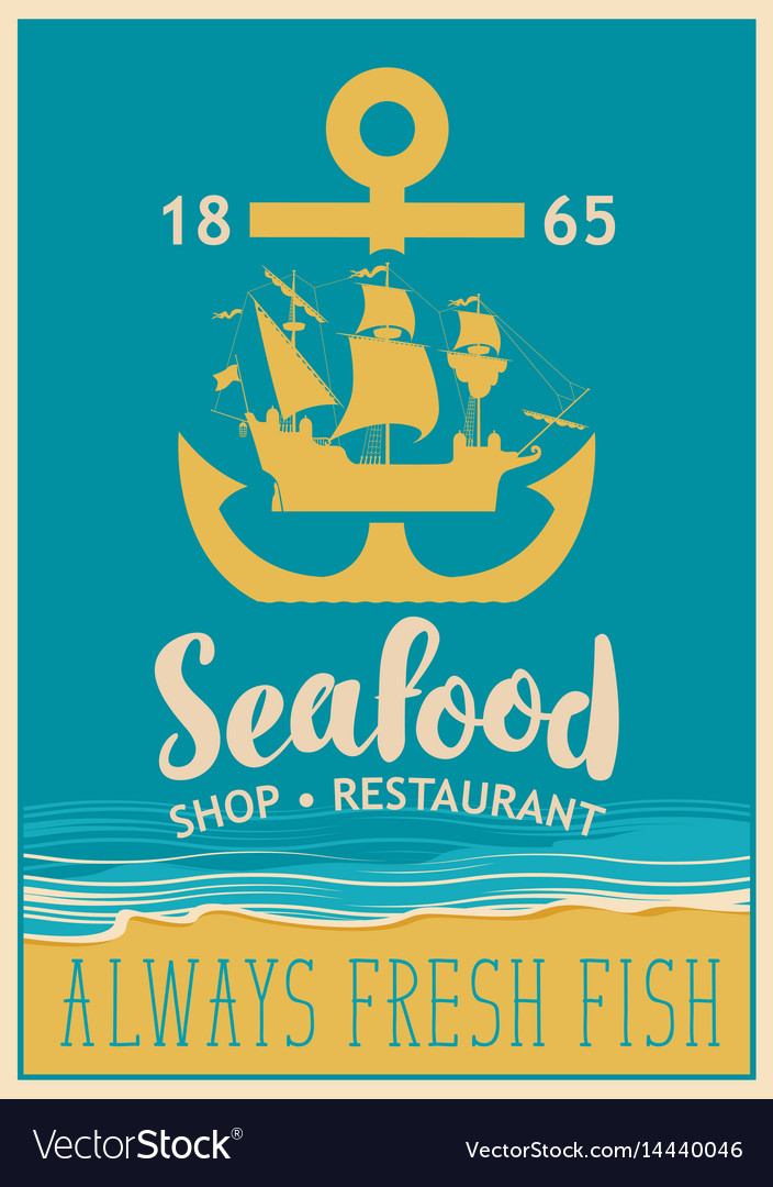 Banner for seafood with anchor and sailboat