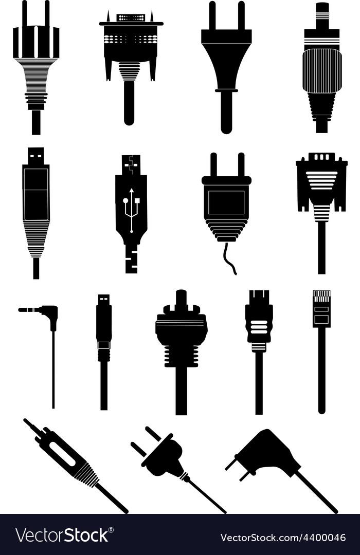 Electric plugs icons set