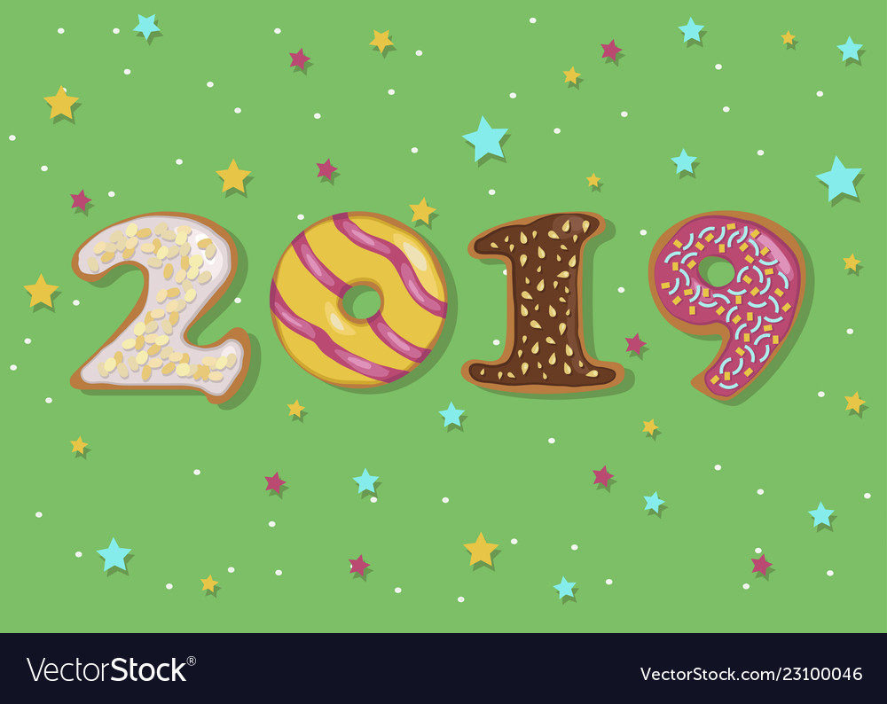 happy new year 2019 sweet donuts vector image