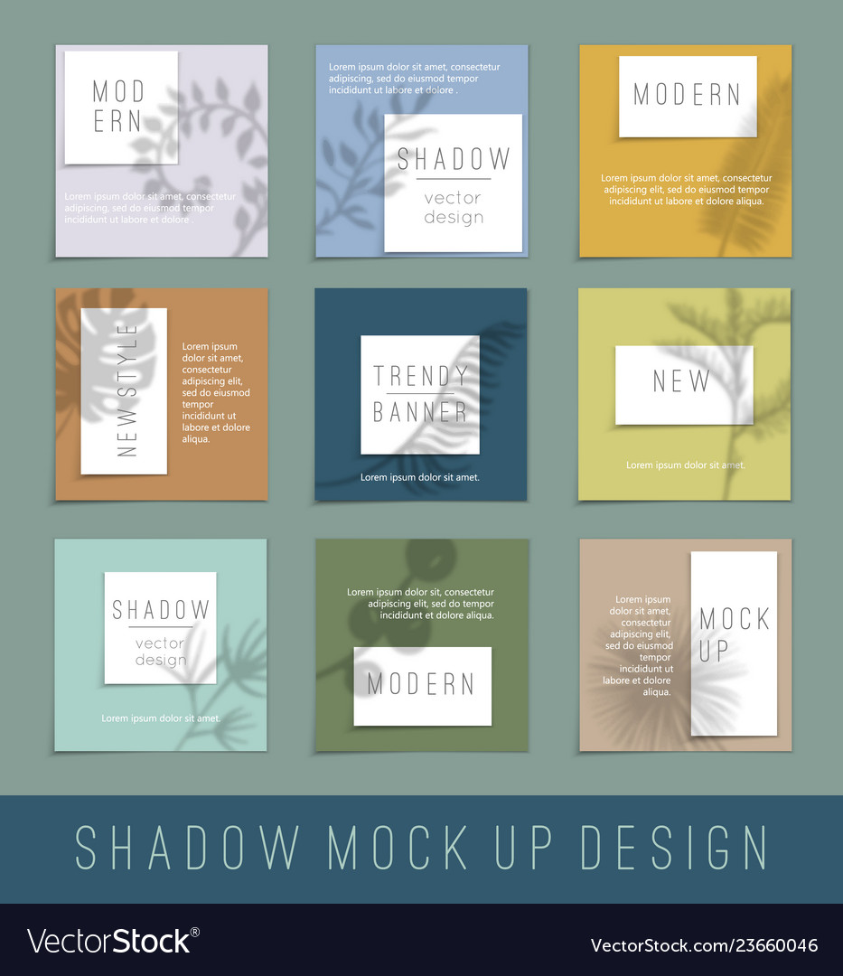 Nine paper white blank with shadow for your design